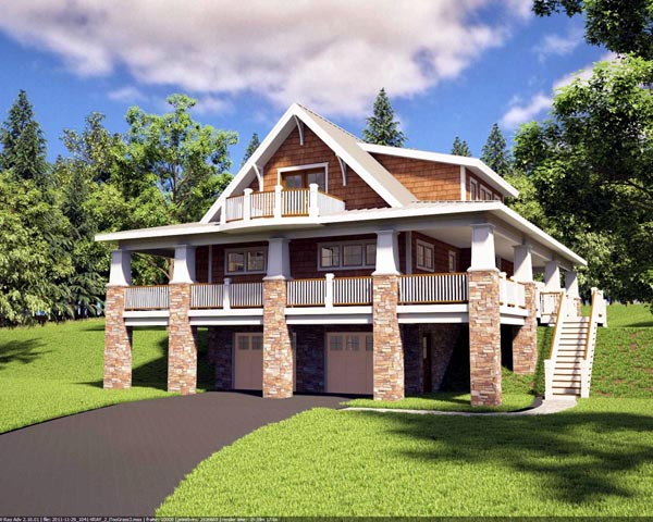 Bungalow craftsman hillside home plan family home plans blog for Hillside house plans