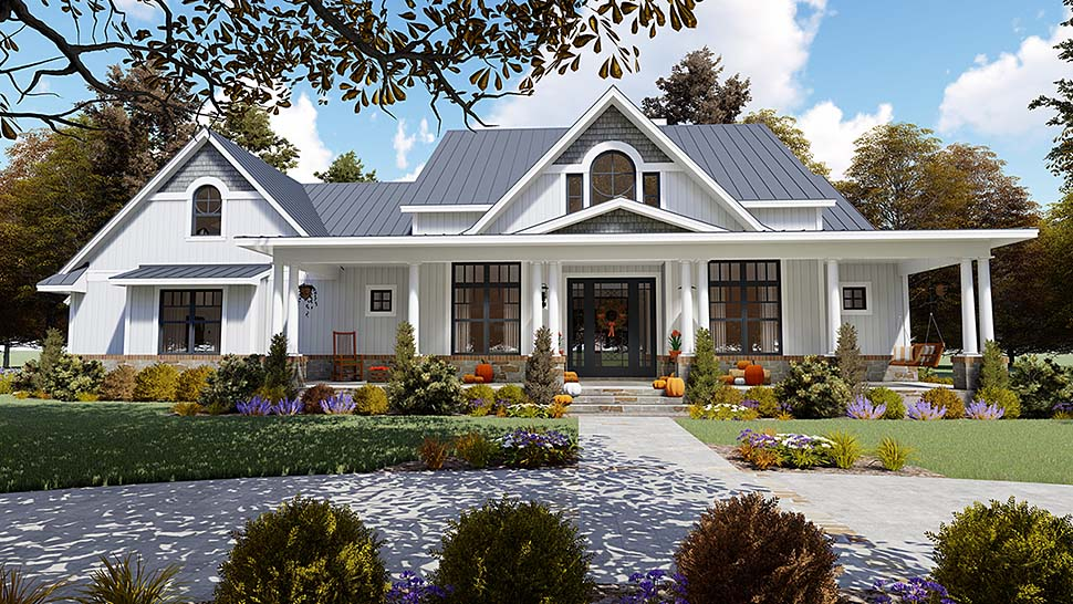 Southern Style Home Plan With Veranda and Covered BBQ Porch