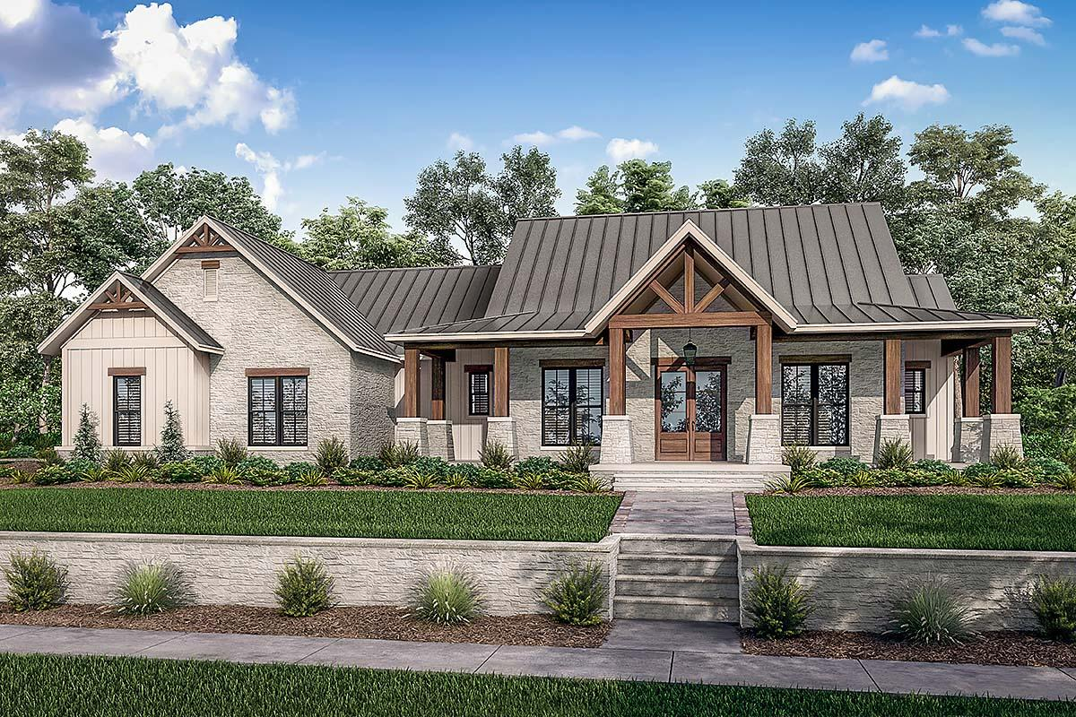 3 Bedroom Texas Farmhouse Plan With Outdoor Living Space